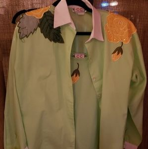 Flower embroidered 2 piece shirt set